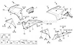 OEM Frame Parts Diagrams - Front Body II - Aprilia - R.H. DW. BODY SIDE