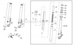 OEM Frame Parts Diagrams - Front Fork - Aprilia - Hub+LH fork leg