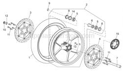 OEM Frame Parts Diagrams - Front Wheel - Aprilia - RH front brake disc
