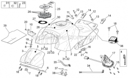 OEM Frame Parts Diagrams - Fuel Tank - Aprilia - Screw w/ flange M6x16