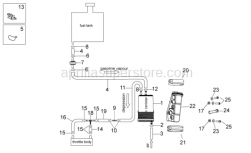 OEM Frame Parts Diagrams - Fuel Vapor Recovery System - Aprilia - Carbon filter support