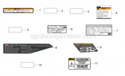 OEM Frame Parts Diagrams - Plate Set and Decal - Aprilia - Battery decal