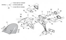OEM Frame Parts Diagrams - Rear Body II - Aprilia - Upper Number plate holder