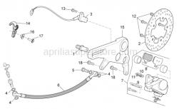 OEM Frame Parts Diagrams - Rear Brake Caliper - Aprilia - Rear brake hose support