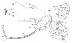 OEM Frame Parts Diagrams - Rear Brake Caliper - Aprilia - Rear brake caliper support