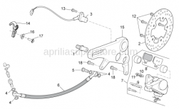 OEM Frame Parts Diagrams - Rear Brake Caliper - Aprilia - Brake supp. plate pin