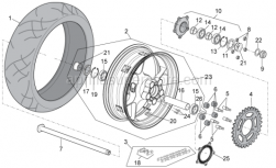 OEM Frame Parts Diagrams - Rear Wheel - Aprilia - Washer 25,2x36x1